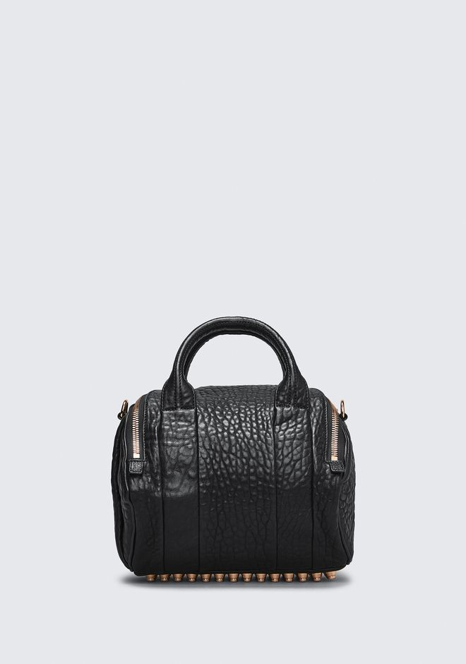ALEXANDER WANG ROCKIE IN PEBBLED BLACK WITH ROSE GOLD Shoulder bag Adult 12_n_d