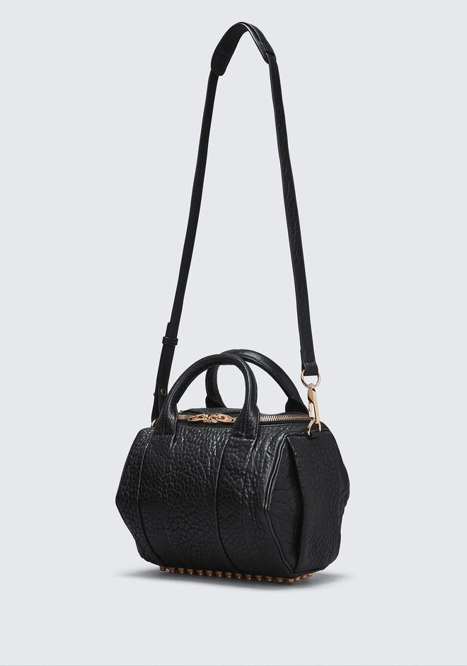 ALEXANDER WANG ROCKIE IN PEBBLED BLACK WITH ROSE GOLD Shoulder bag Adult 12_n_e