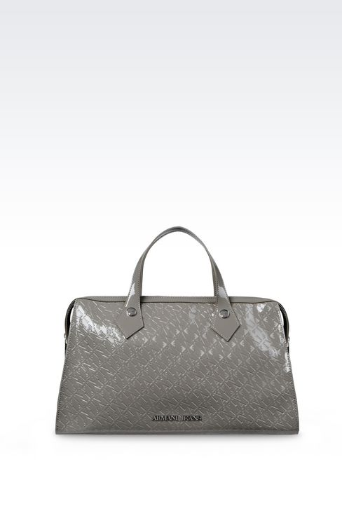 BAULETTO BAG IN PATENT FAUX LEATHER WITH ALL-OVER LOGO: Baulettos Women by Armani - 1