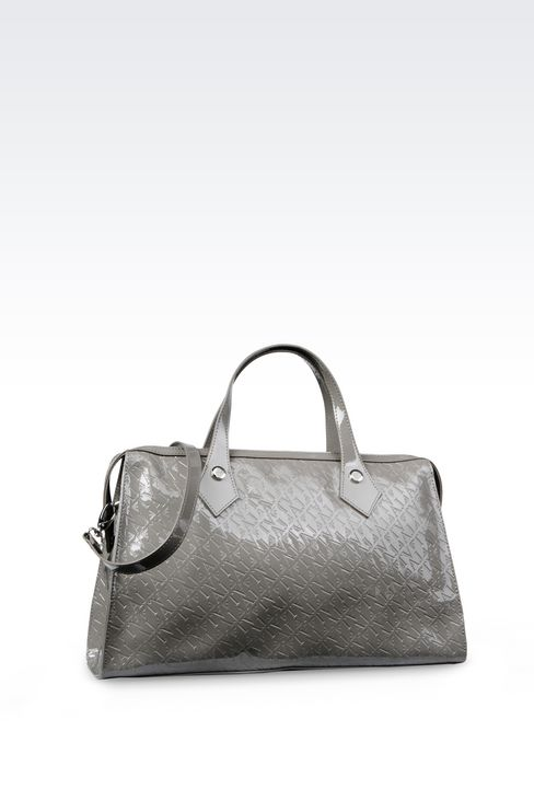 BAULETTO BAG IN PATENT FAUX LEATHER WITH ALL-OVER LOGO: Baulettos Women by Armani - 2