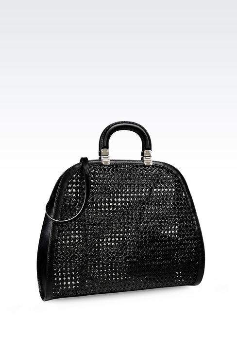 TOTE BAG IN VIENNESE CANE AND LEATHER: Top handles Women by Armani - 2