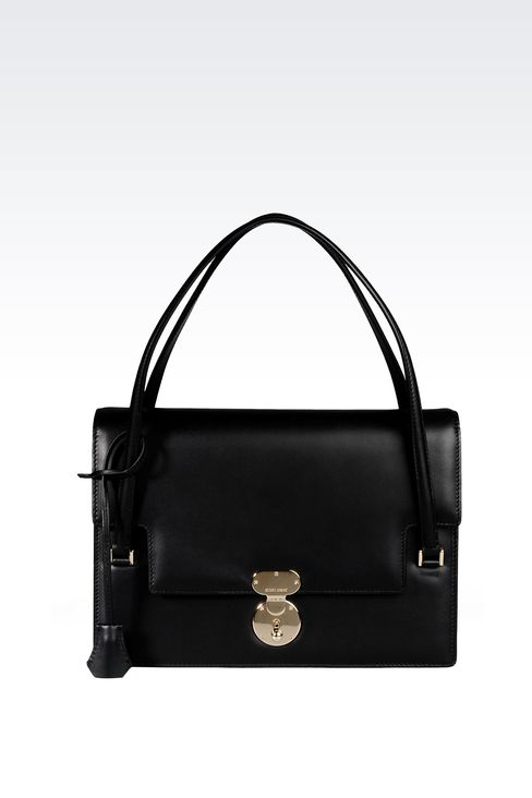 LEATHER SHOULDER BAG WITH LATCH CLOSURE: Shoulder bags Women by Armani - 1