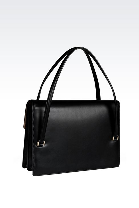 LEATHER SHOULDER BAG WITH LATCH CLOSURE: Shoulder bags Women by Armani - 2