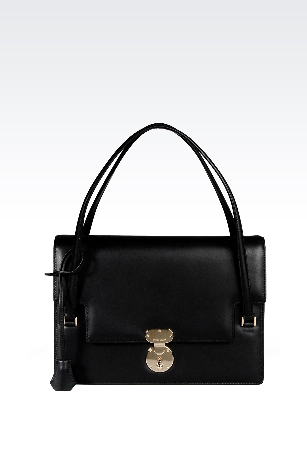 LEATHER SHOULDER BAG WITH LATCH CLOSURE: Shoulder bags Women by Armani - 0