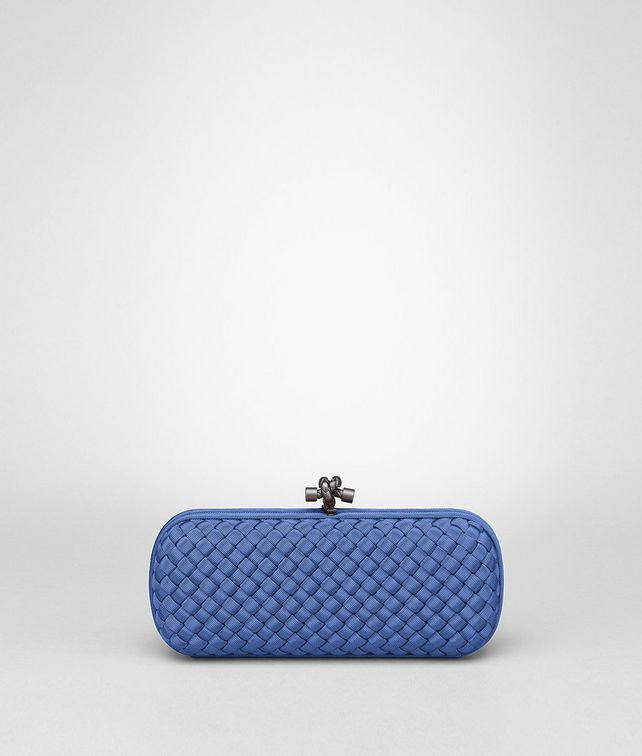 BOTTEGA VENETA STRETCH KNOT CLUTCH IN ELECTRIQUE INTRECCIO FAILLE MOIRE Clutch D fp