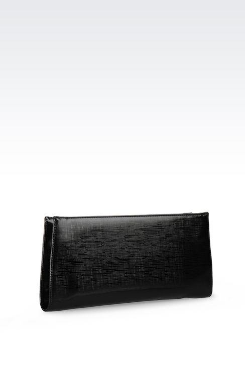 CLUTCH IN FAUX SAFFIANO LEATHER WITH JEWEL DETAIL: Clutches Women by Armani - 2