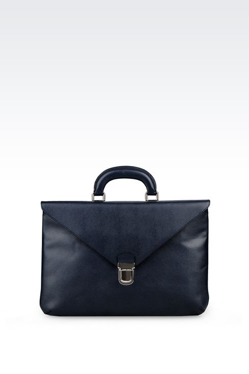 FLAT BRIEFCASE IN SAFFIANO: Briefcases Men by Armani - 1