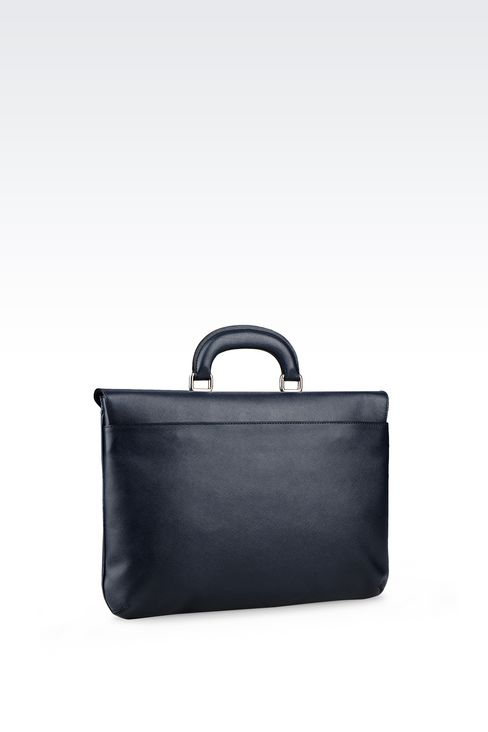 FLAT BRIEFCASE IN SAFFIANO: Briefcases Men by Armani - 2