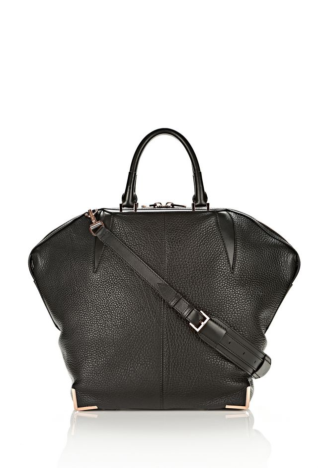 ALEXANDER WANG LARGE SKELETAL EMILE IN SOFT PEBBLED BLACK WITH ROSE GOLD
