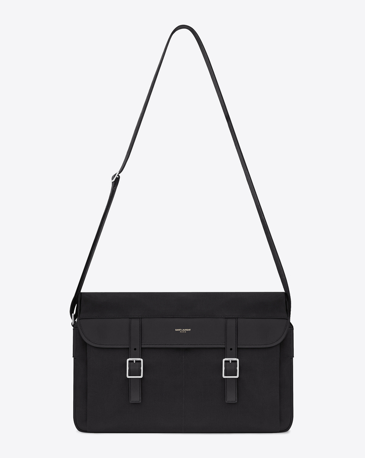 Saint Laurent Hunting Messenger Bag In Black Canvas And Leather ...