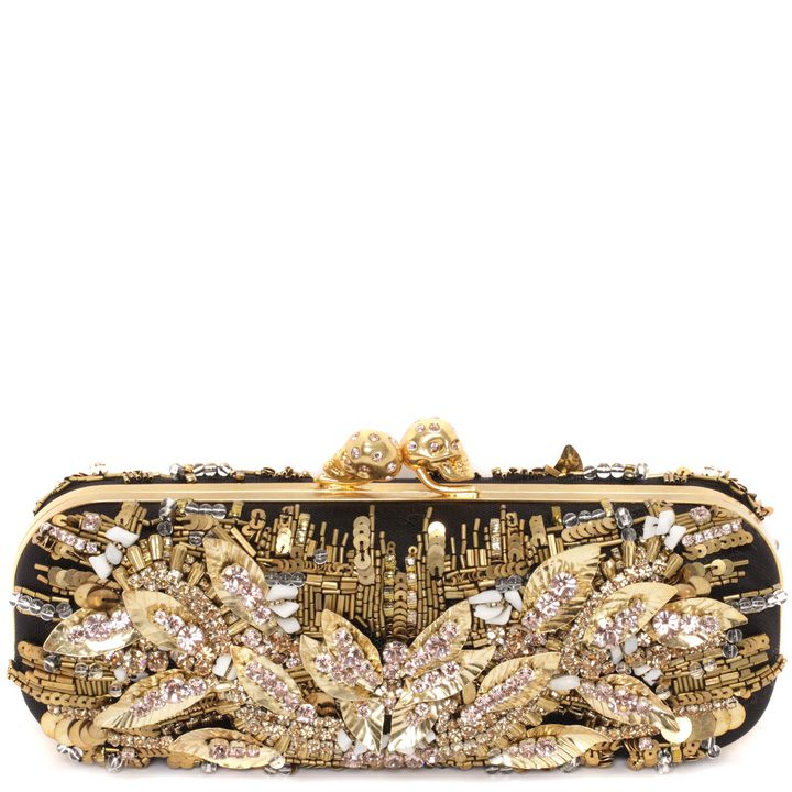 Alexander McQueen, Leaf Embroidered Twin Skull Clasp Clutch