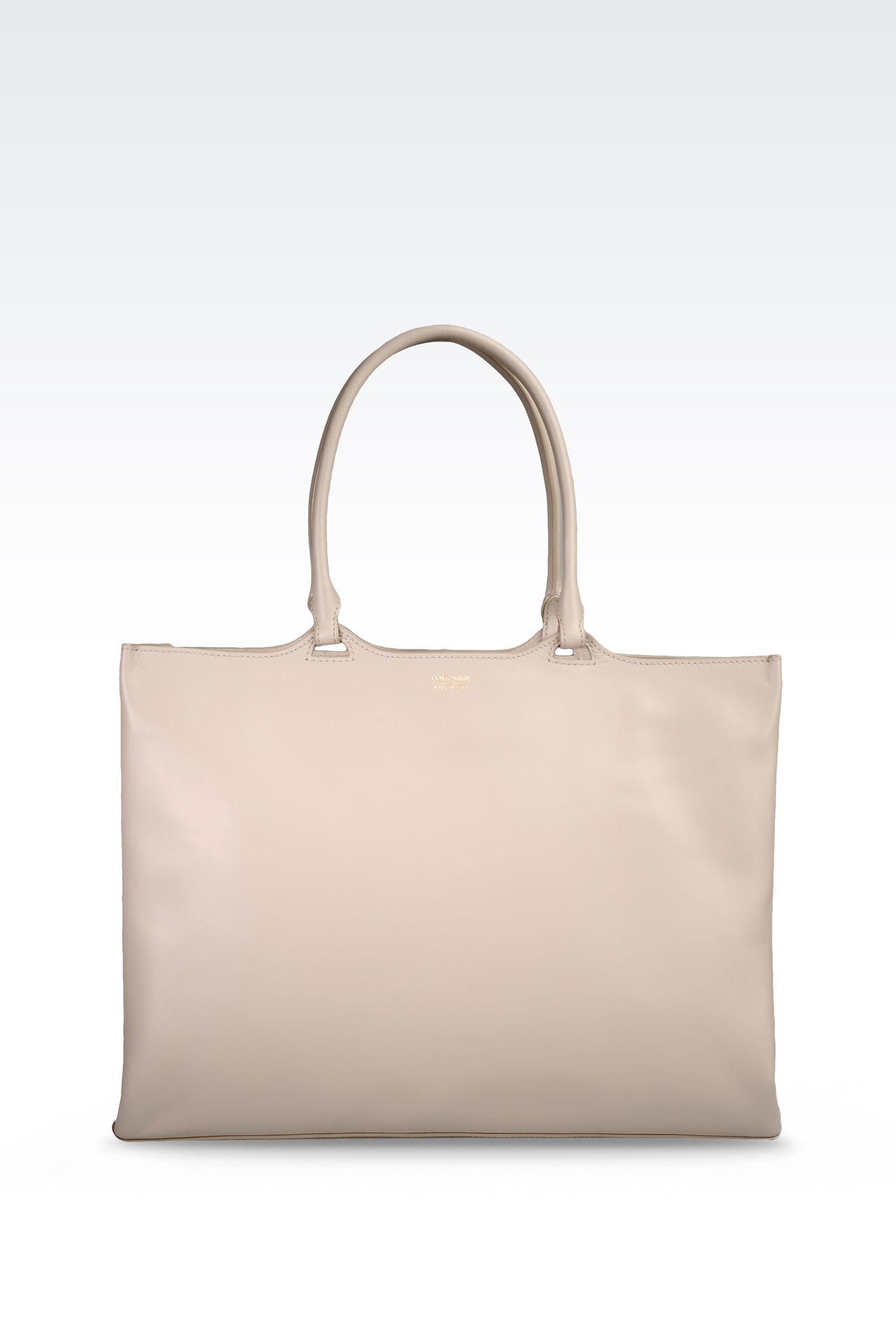 SMALL SHOPPER IN CALFSKIN: Shoppers Women by Armani - 0