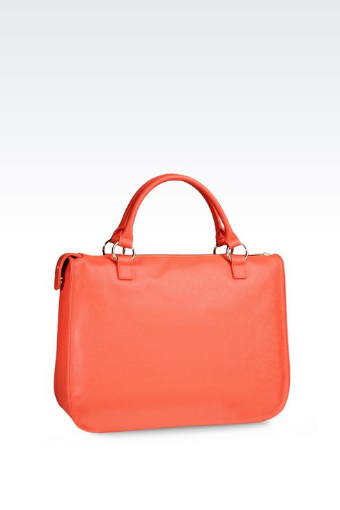 SHOPPING BAG IN ECO SAFFIANO CALFSKIN WITH LOGO: Shoppers Women by Armani - 2