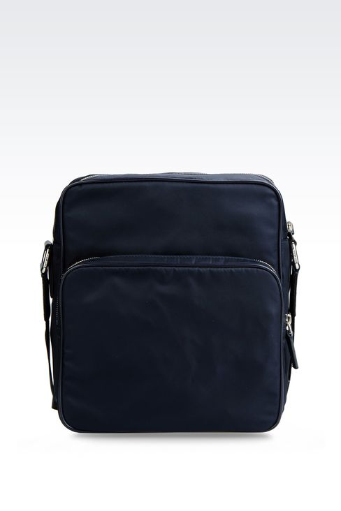 SHOULDER BAG IN NYLON WITH LEATHER TRIM: Messenger bags Men by Armani - 1