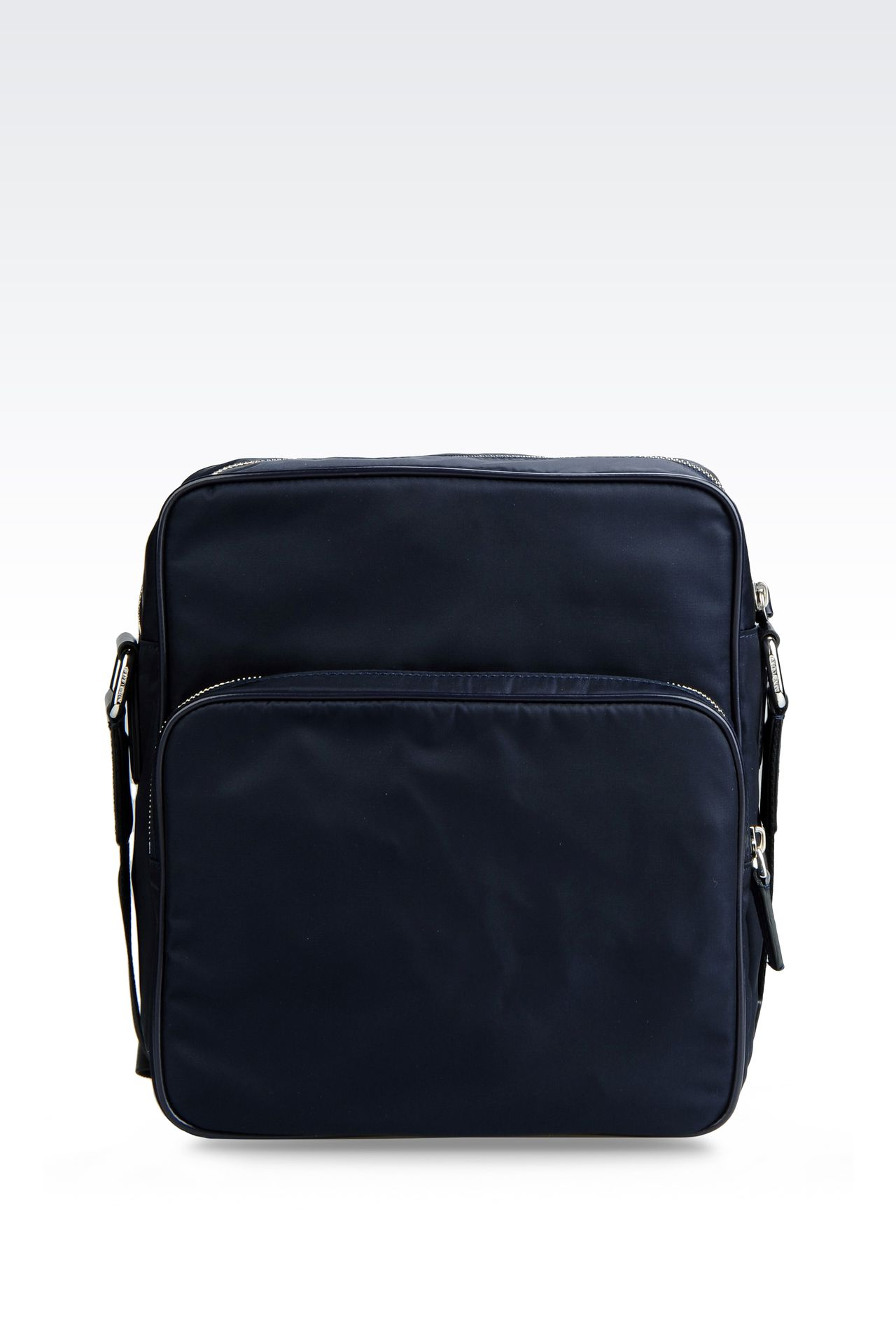 SHOULDER BAG IN NYLON WITH LEATHER TRIM: Messenger bags Men by Armani - 0