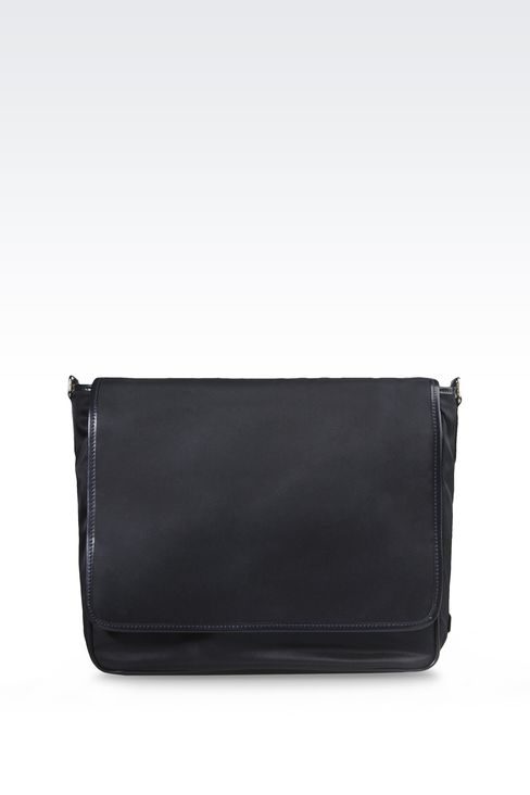 MESSENGER BAG IN NYLON WITH LEATHER TRIM: Messenger bags Men by Armani - 1