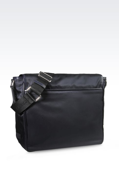 MESSENGER BAG IN NYLON WITH LEATHER TRIM: Messenger bags Men by Armani - 2