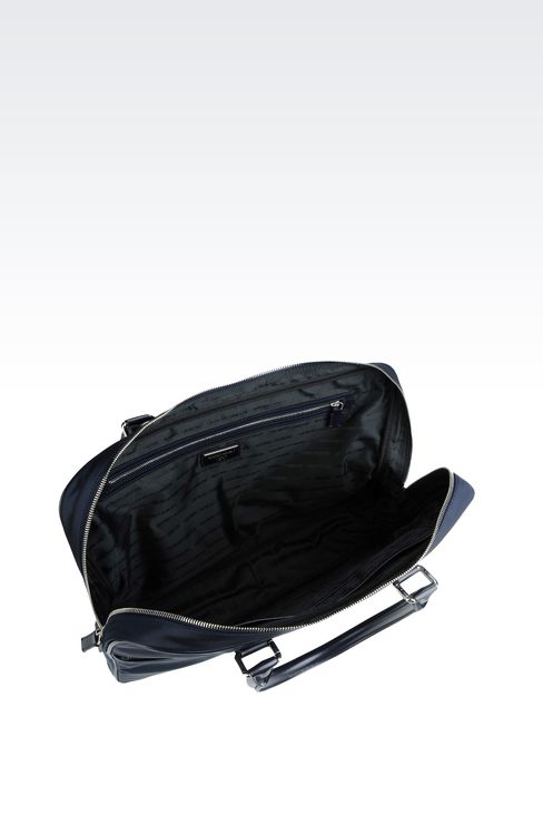 BRIEFCASE IN NYLON WITH LEATHER TRIM: Briefcases Men by Armani - 3