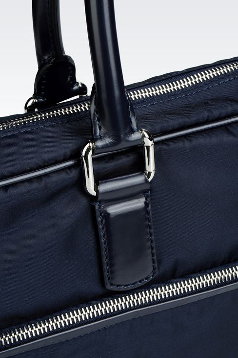 BRIEFCASE IN NYLON WITH LEATHER TRIM: Briefcases Men by Armani - 4