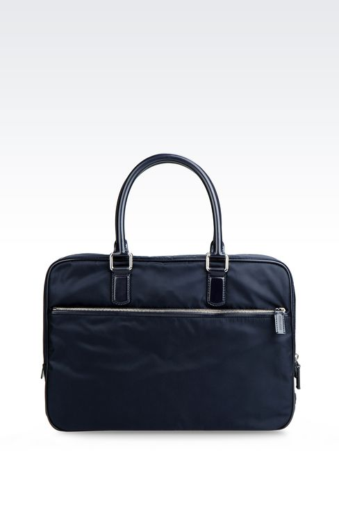 BRIEFCASE IN NYLON WITH LEATHER TRIM: Briefcases Men by Armani - 1