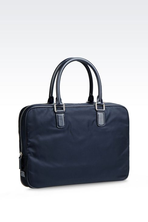 BRIEFCASE IN NYLON WITH LEATHER TRIM: Briefcases Men by Armani - 2