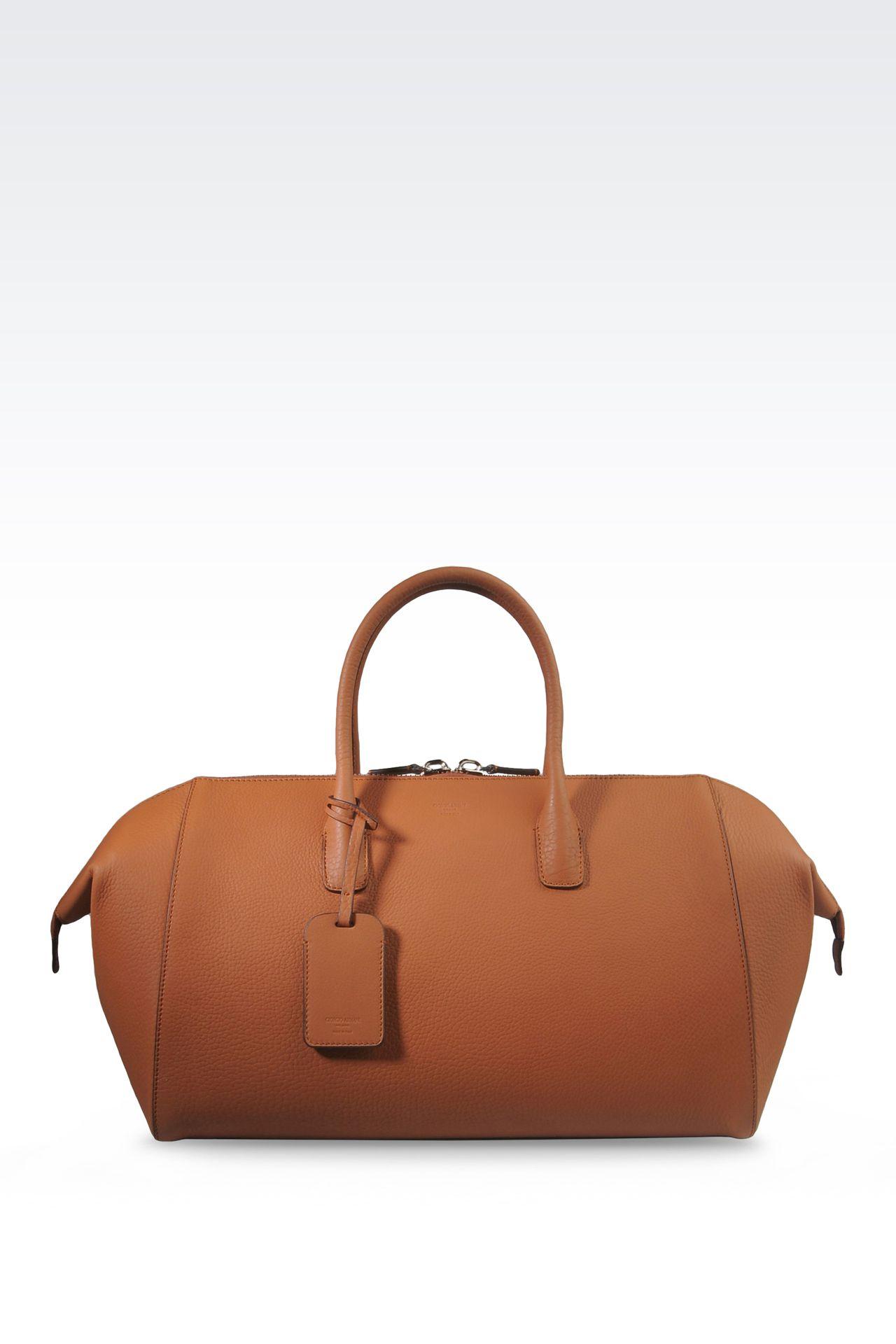 WEEKEND BAG IN GRAINED CALFSKIN: Weekender bags Men by Armani - 0