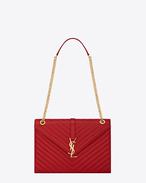 Classic Large Monogram  Saint Laurent Satchel in Lipstick Red Grain de Poudre Textured Matelassé Leather