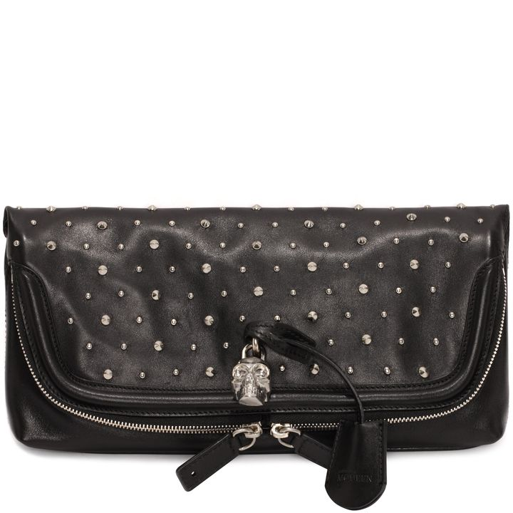 Alexander McQueen, Studded Leather Skull Padlock Clutch