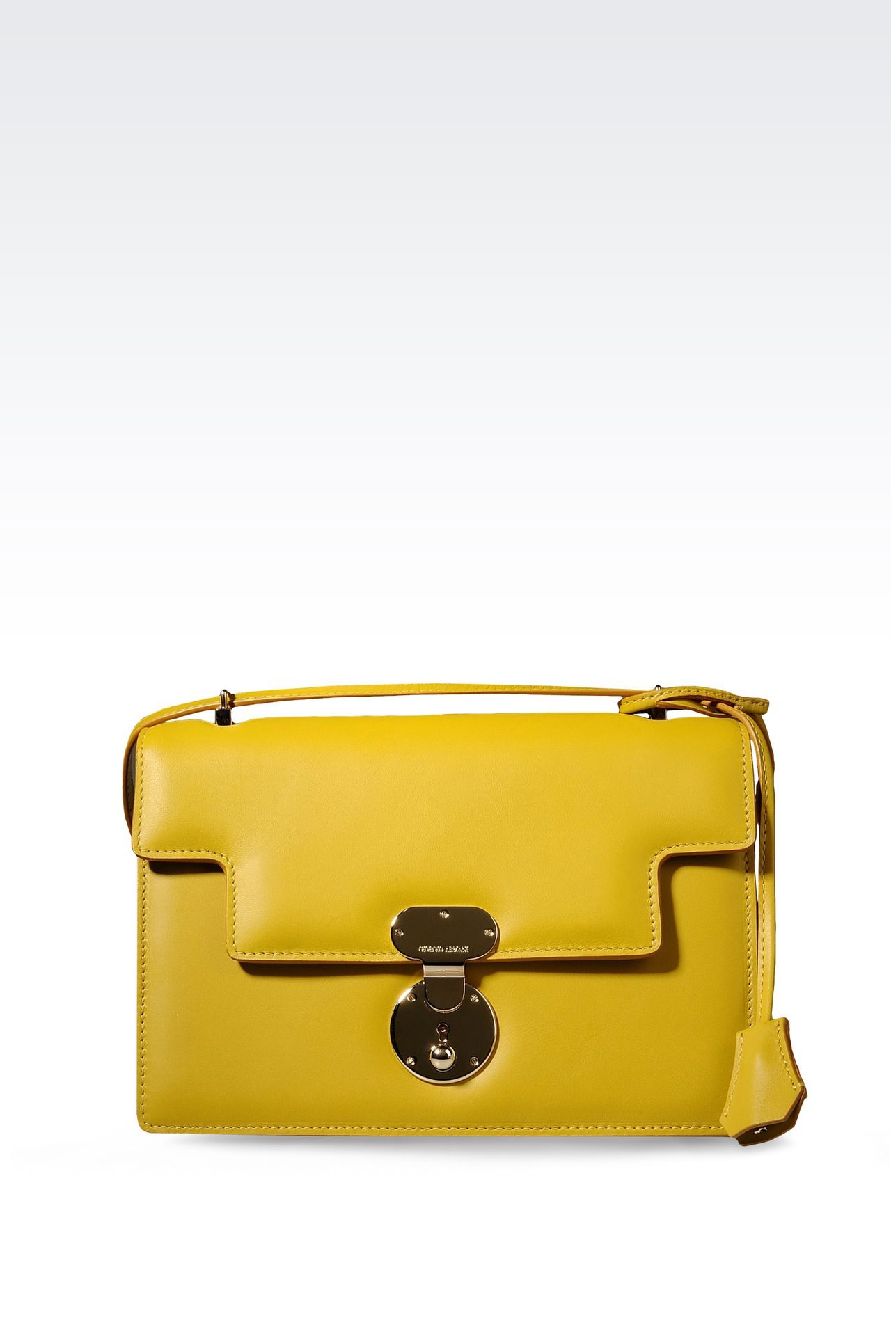 SHOULDER BAG IN CALFSKIN LEATHER: Top handles Women by Armani - 0