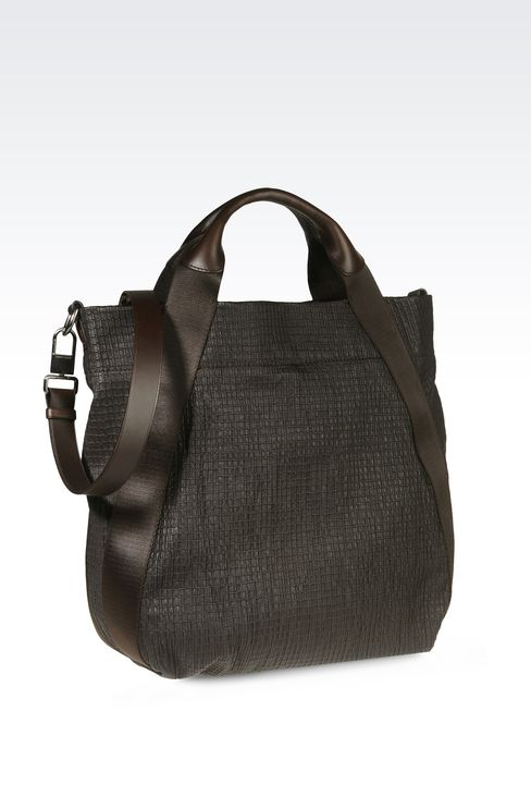 TOTE BAG IN PRINTED NAPPA LEATHER : Shoppers Men by Armani - 2
