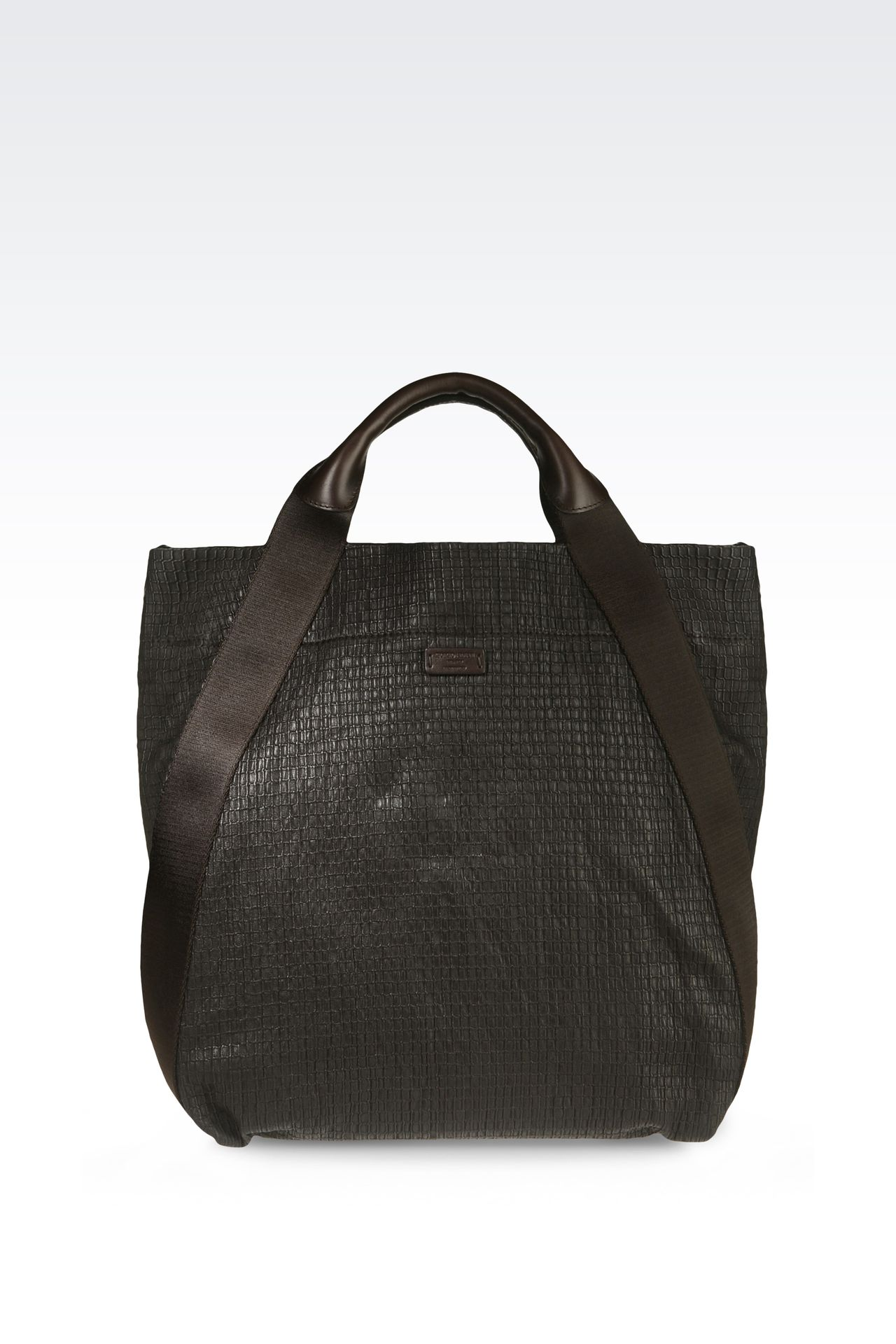 TOTE BAG IN PRINTED NAPPA LEATHER : Shoppers Men by Armani - 0