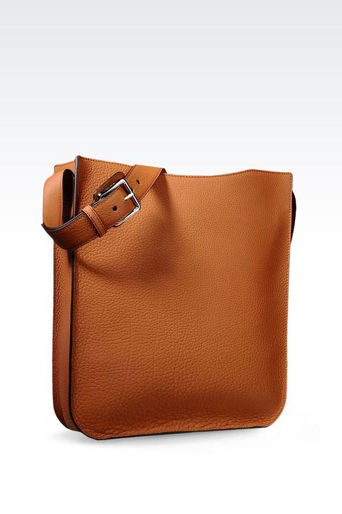 SHOULDER BAG IN CALFSKIN LEATHER: Hobo bags Men by Armani - 2