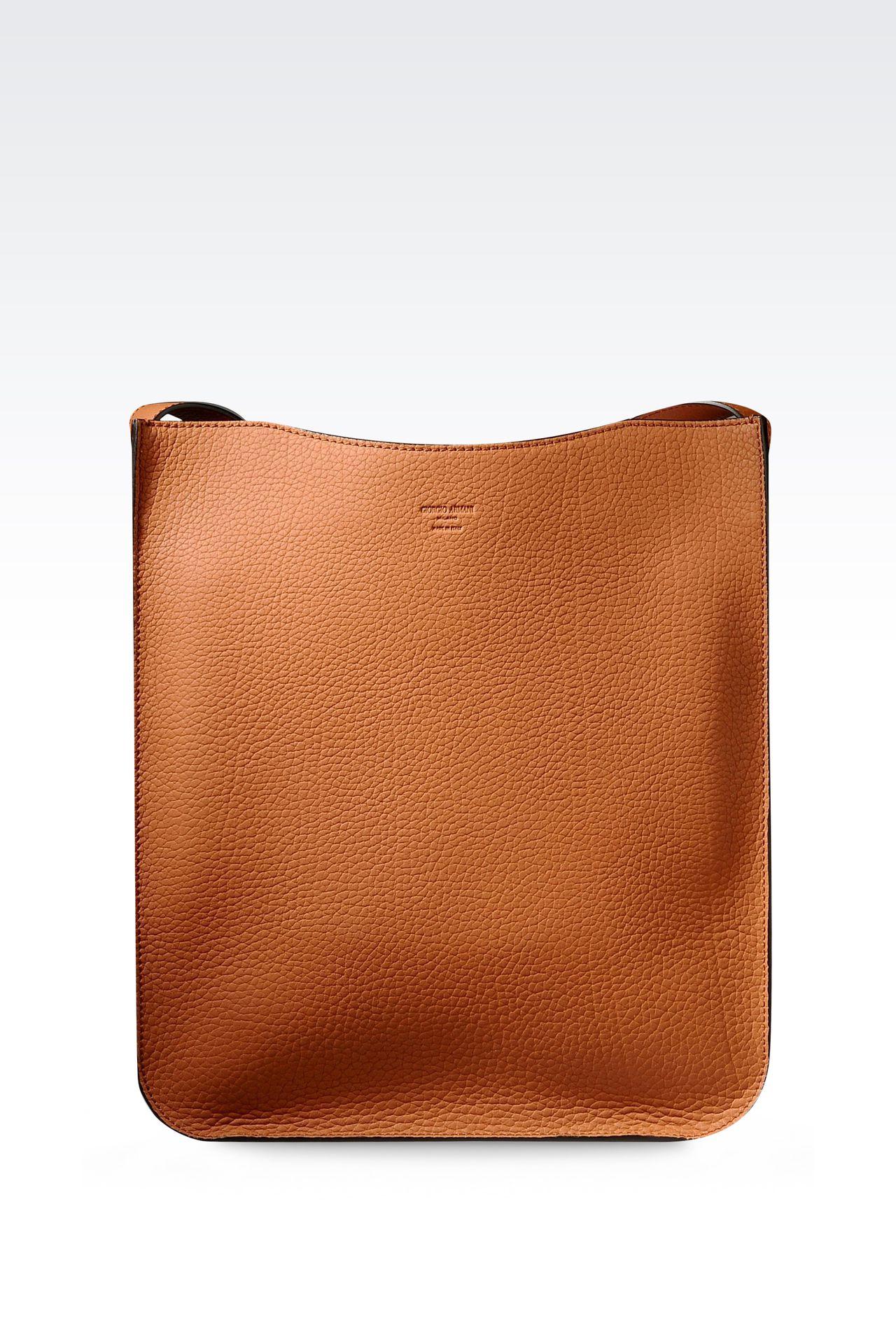 SHOULDER BAG IN CALFSKIN LEATHER: Hobo bags Men by Armani - 0