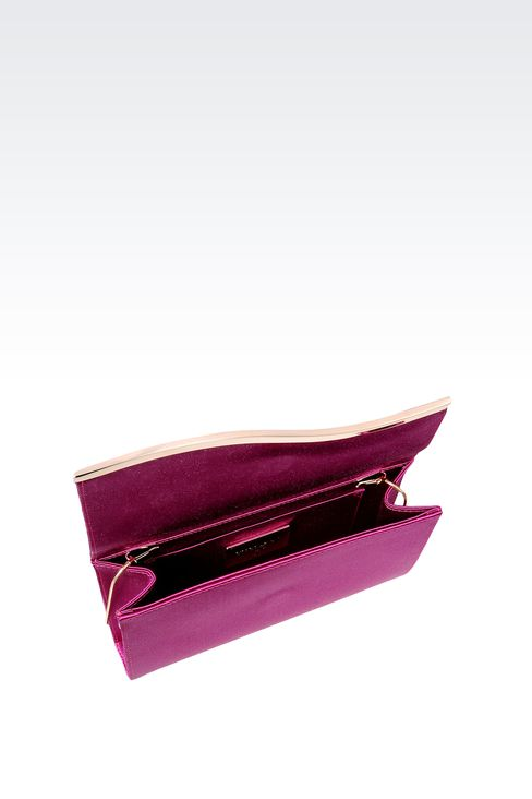SATIN CLUTCH WITH DETACHABLE SHOULDER STRAP: Clutch bags Women by Armani - 3