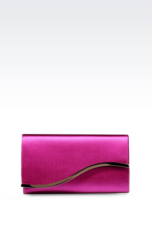 SATIN CLUTCH WITH DETACHABLE SHOULDER STRAP: Clutch bags Women by Armani - 1