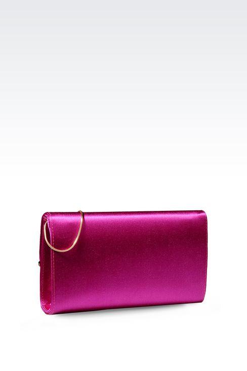 SATIN CLUTCH WITH DETACHABLE SHOULDER STRAP: Clutch bags Women by Armani - 2
