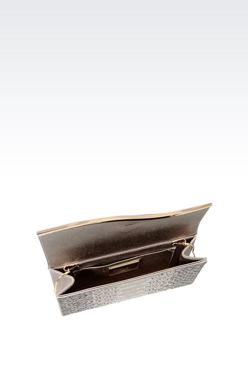 RHINESTONE-EMBELLISHED SATIN CLUTCH: Clutch bags Women by Armani - 4