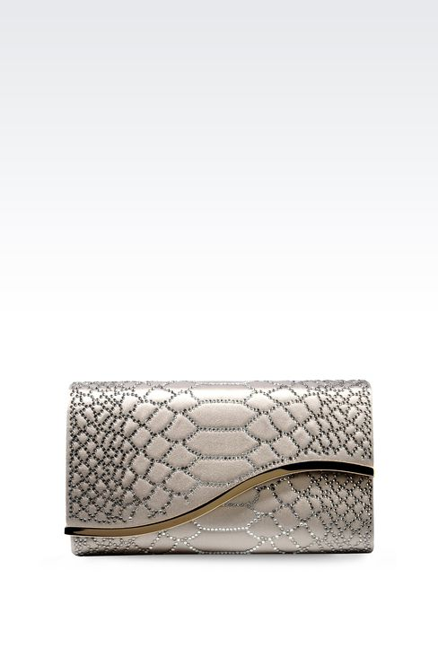 RHINESTONE-EMBELLISHED SATIN CLUTCH: Clutch bags Women by Armani - 1