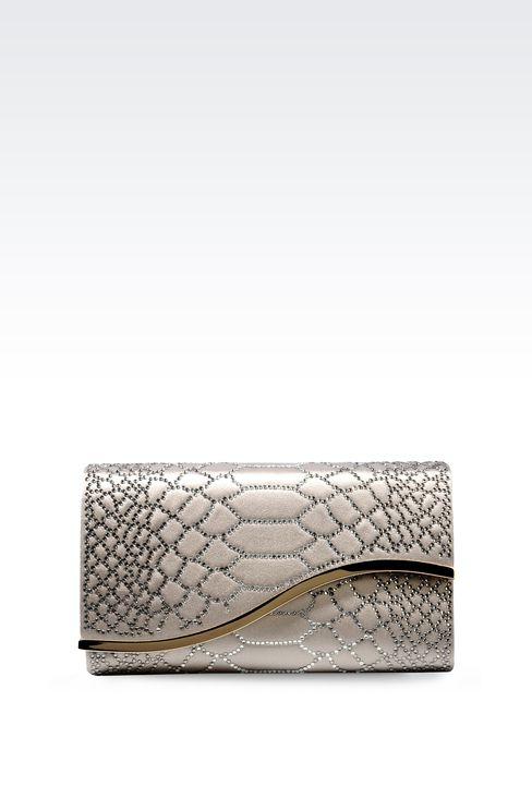 RHINESTONE-EMBELLISHED SATIN CLUTCH: Clutch bags Women by Armani - 1