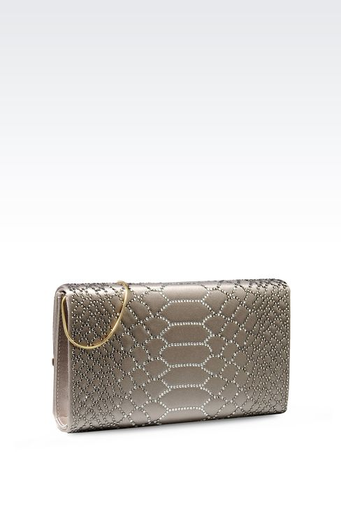 RHINESTONE-EMBELLISHED SATIN CLUTCH: Clutch bags Women by Armani - 2