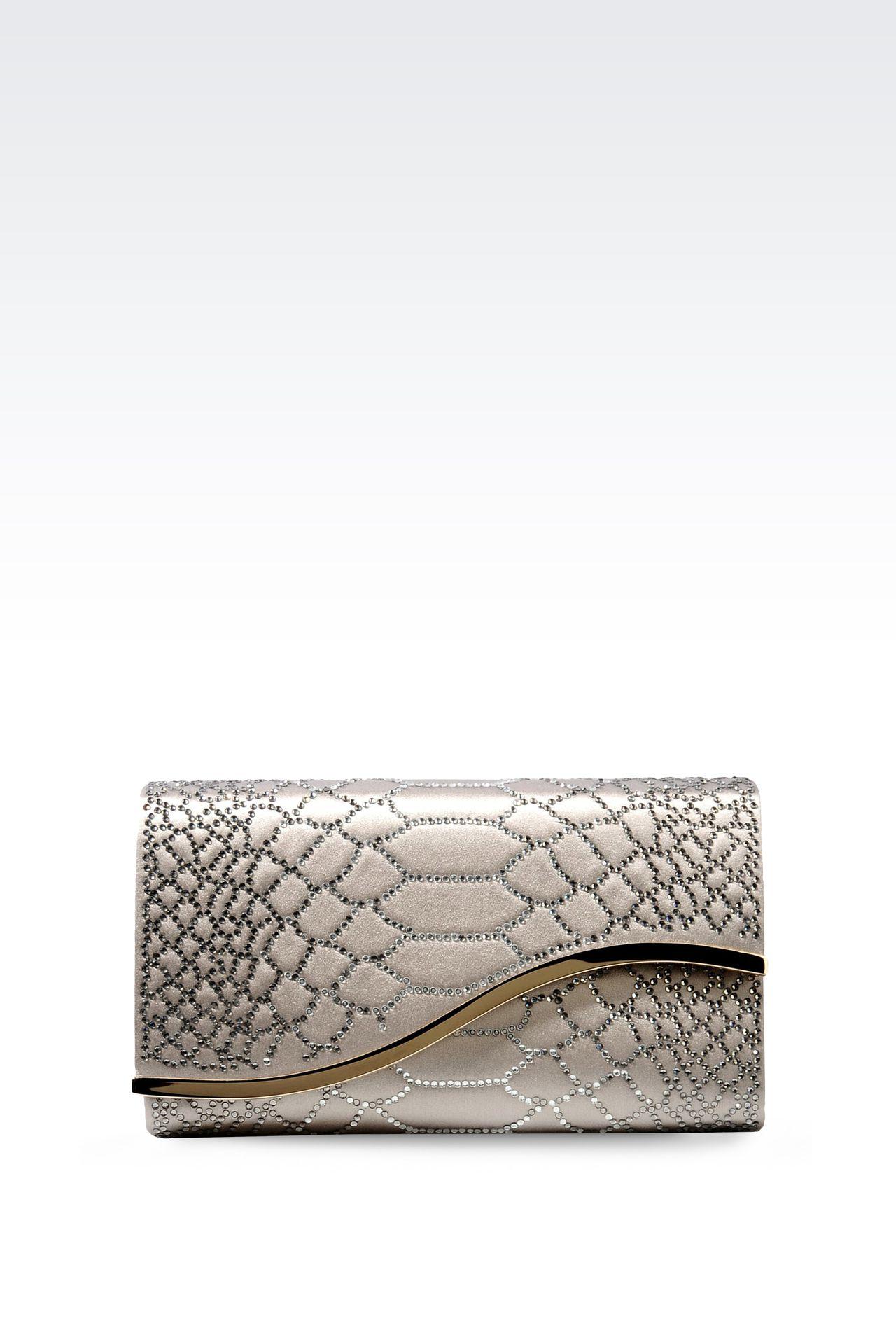RHINESTONE-EMBELLISHED SATIN CLUTCH: Clutch bags Women by Armani - 0