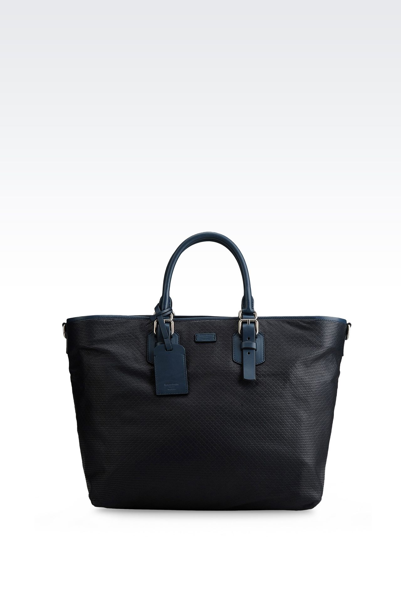SHOPPER IN LASER CUT NAPPA AND LEATHER: Shoppers Men by Armani - 0