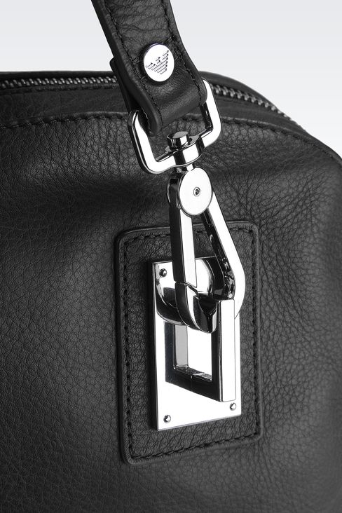 LEATHER HANDBAG WITH HOOK CLASP: Top handles Women by Armani - 4