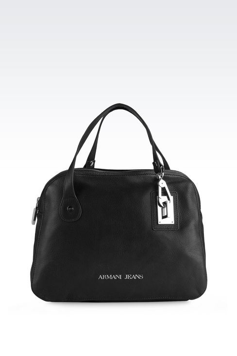 LEATHER HANDBAG WITH HOOK CLASP: Top handles Women by Armani - 1