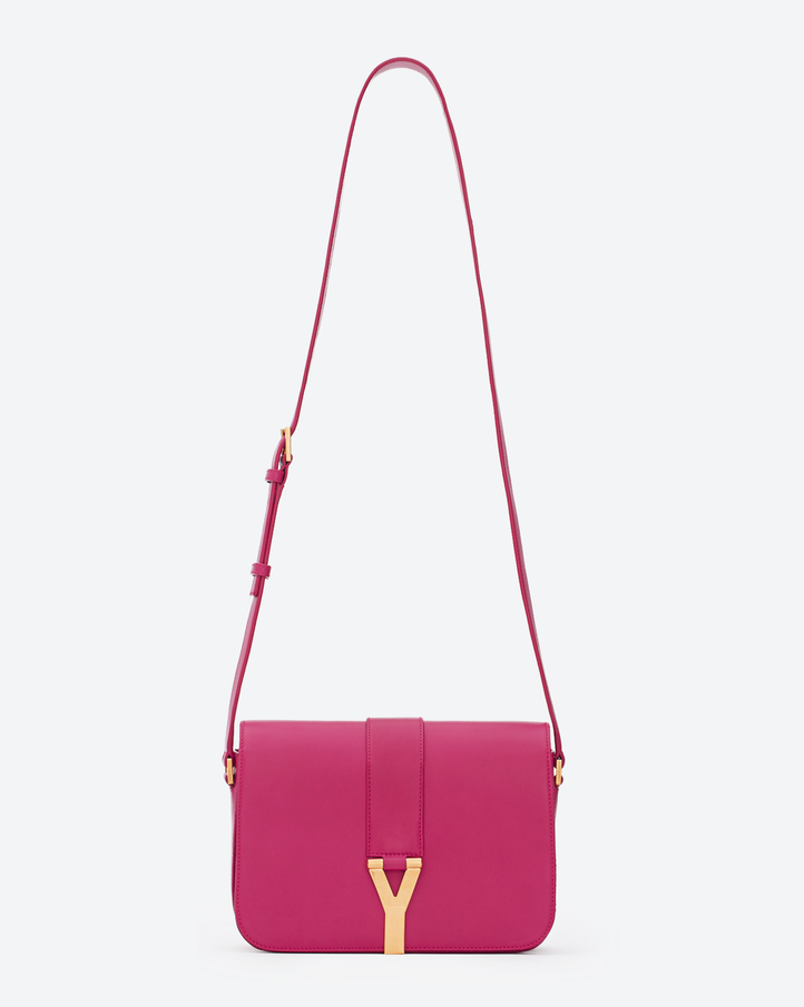 saintlaurent, Classic Y Satchel in Fuchsia Leather