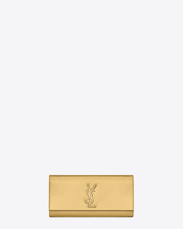 Saint Laurent CLASSIC MONOGRAM SAINT LAURENT CLUTCH IN Gold ...