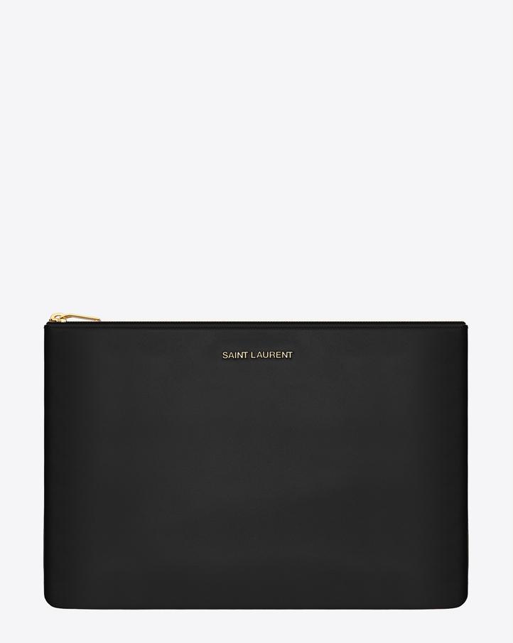ysl replica clutch - Saint Laurent Letters Saint Laurent Zipped Clutch In Black Leather ...
