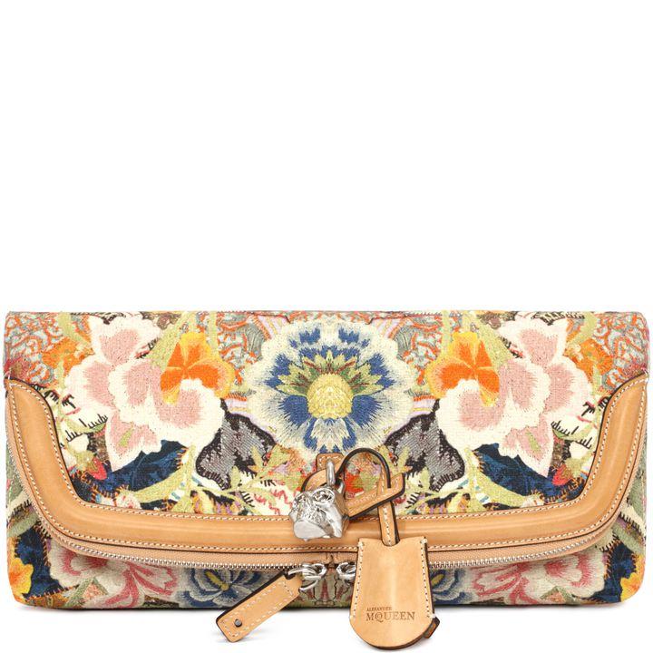 Alexander McQueen, Clutch Patchwork Floral con Lucchetto Skull