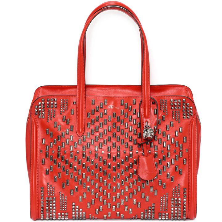 Alexander McQueen, Patchwork Stud Skull Padlock Top Handle Bag