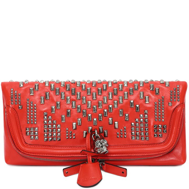 Alexander McQueen, Patchwork Stud Leather Skull Padlock Clutch